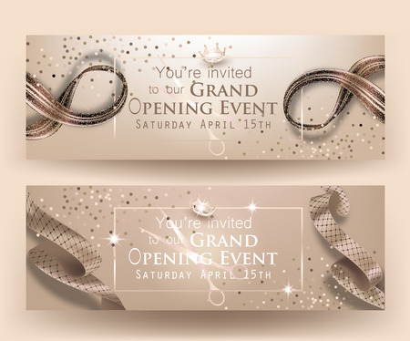 Grand opening beige banners with frame and curly ribbons. Vector illustration Illustration