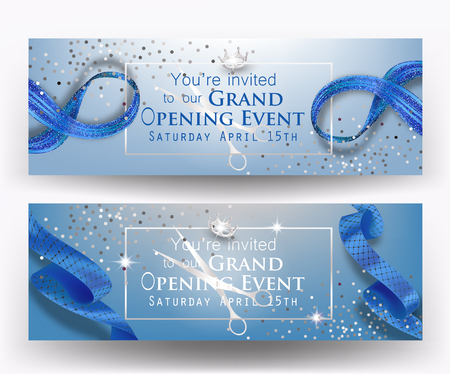 Grand opening blue banners with frame and curly ribbons. Vector illustration