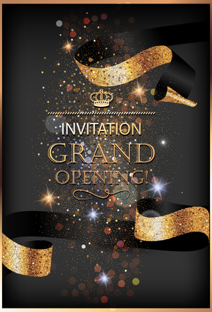 Grand opening invitation gold card with sparkling background and curly elegant ribbon. Vector illustration