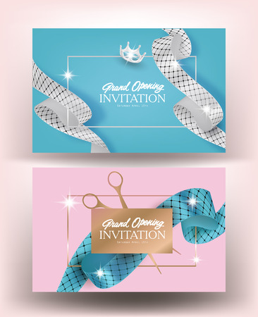 Grand opening pastel banners with curly ribbons with pattern. Vector illustration