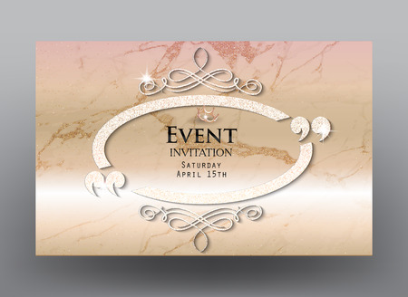 commemorate: Invitation card with marble background, sparkling vintage ellipse frame with flourishes and quotes. Vector illustration