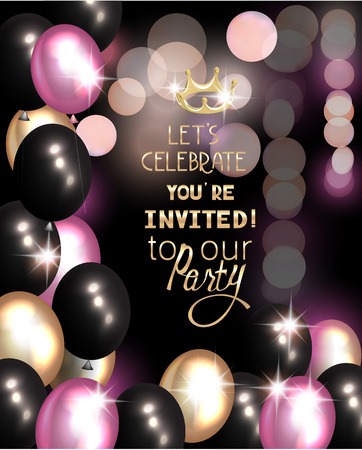 Party invitation card with air balloons and defocused background. Vector illustration