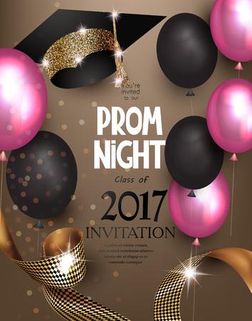 Prom nacht achtergrond met luchtballonnen, lint en hoed. Vector illustratie