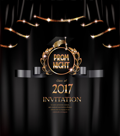 Prom night elegant banner with back curtains with gold sparkling edges and hat. Vector illustration