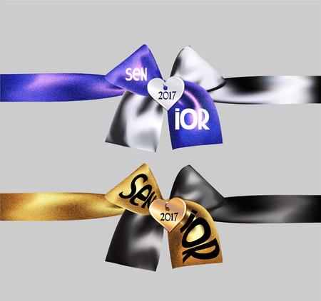 2017 Senior sparkling bows. Vector illustration