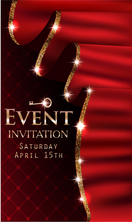 VIP event invitation card with red curtains with gold shiny rim. Vector illustration