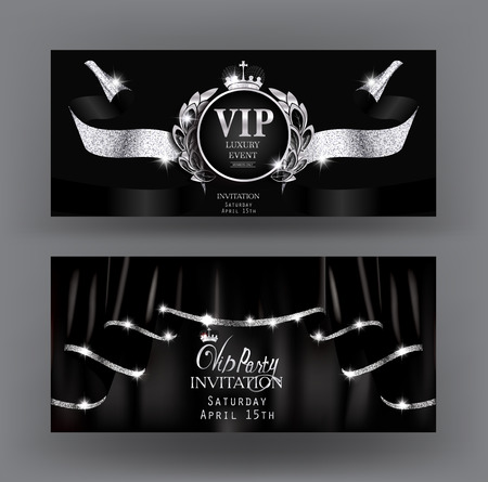 Vip invitation banners with black curtains with silver sparkling rim and sparkling ribbon. Vector illustration