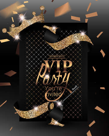 exclusive: VIP invitation card with confetti, sparkling ribbons, symbolic key and krown. Vector illustration