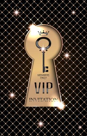 platinum: VIP invitation card with gold keyhole. Vector illustration