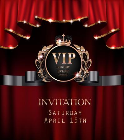 Carte d'invitation de Vip avec des rideaux rouges avec la jante étincelante d'or. Illustration vectorielle Banque d'images - 76559533