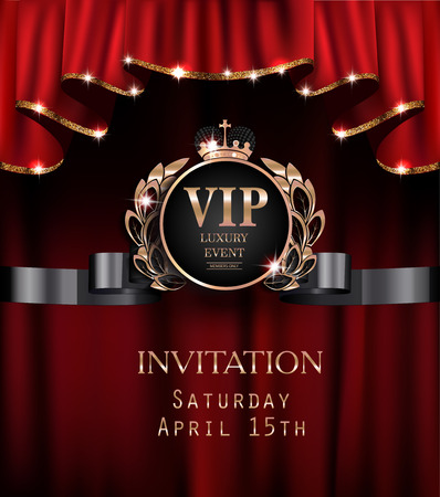 Vip invitation card with red curtains with gold sparkling rim. Vector illustration Stock Illustratie