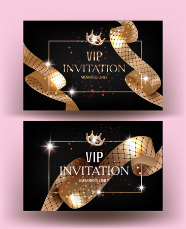 VIP invitation cards with gold curly ribbons with pattern. Vector illustration Ilustrace