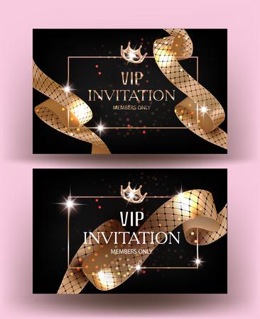 VIP-uitnodigingskaarten met gouden krullende linten met patroon. Vector illustratie
