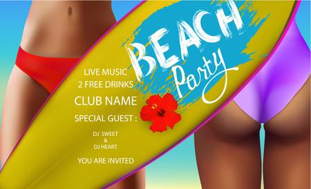 bannière Beach party avec partie inférieure des filles en maillot de bain et planche de surf. Vector illustration