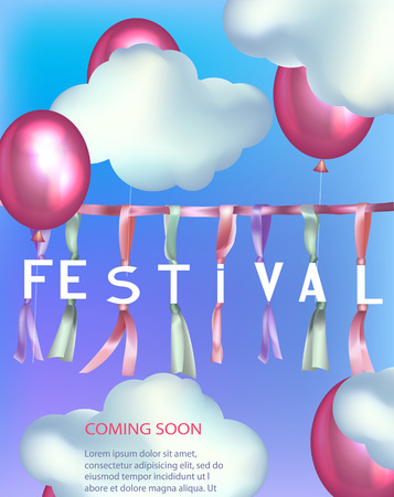 Festival background with clouds, garland and air balloons. Vector illustration