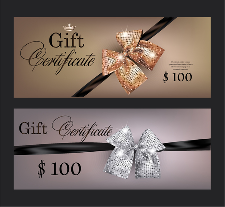 platinum: Gift certificates with gold and black bows WITH ROUND PATTERN. Vector illustration Illustration