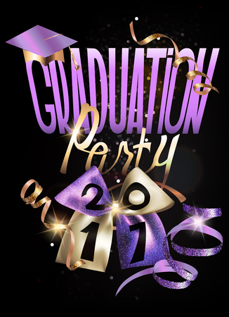 2017 Graduation party banner with sparkling bow and curly serpentine. Vector illustration