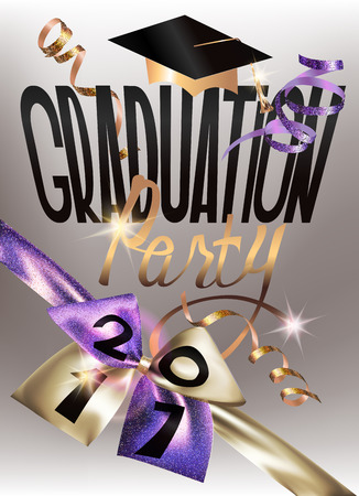 2017 Graduation party banner with sparkling ribbon and curly serpentine. Vector illustration Illustration