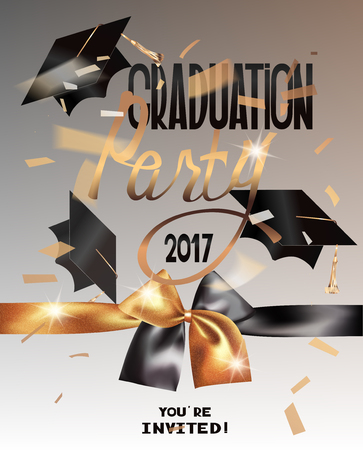 2017 Graduation party banner with sparkling ribbon, hats and falling confetti. Vector illustration