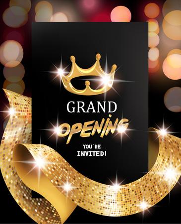 Grootse opening wazig achtergrond met gouden getextureerde krullend lint. Vector illustratie Stockfoto - 76555662