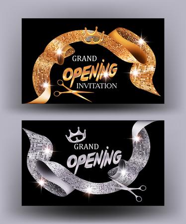 Grand Eröffnungskarten mit Gold und Silber texturierten Curli funkelnden Bändern. Vektor-Illustration Standard-Bild - 76730149