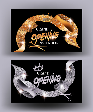 private party: Grand opening cards with gold and silver textured curli sparkling ribbons. Vector illustration