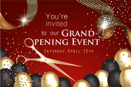 Einladung der festlichen Eröffnung mit gelocktem Band, Scheren und Gold und schwarze Luftballone auf dem roten Hintergrund. Vektor-Illustration Standard-Bild - 76730160