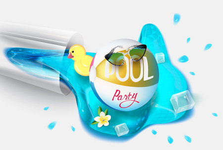 Pool party background with summer design elements and pool water pouring out from glass. Vector illustration Stock Illustratie