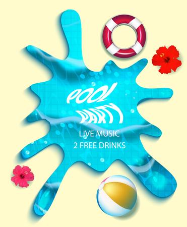 Pool party composition in water splash. Vector illustration Illustration