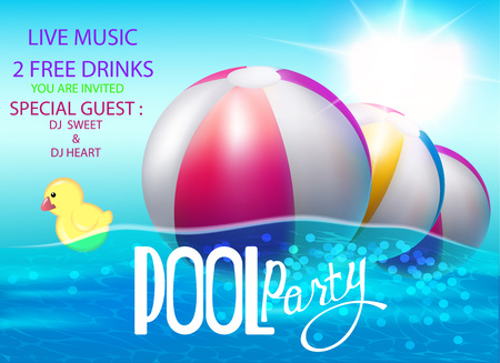 Pool party poster with inflatable balls and rubber toy in swim pool water. Vector illustration Illustration