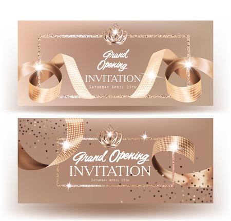 Royal Design Grand Opening Banner mit beige curly Seide Bänder und Gold Frame Hintergrund. Vektor-Illustration