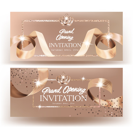 Royal design grand opening banners with beige curly silk ribbons and gold frame background. Vector illustration
