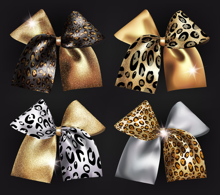 platinum: Set of sparkling bows with wild animals skin print. Vector illustration Illustration