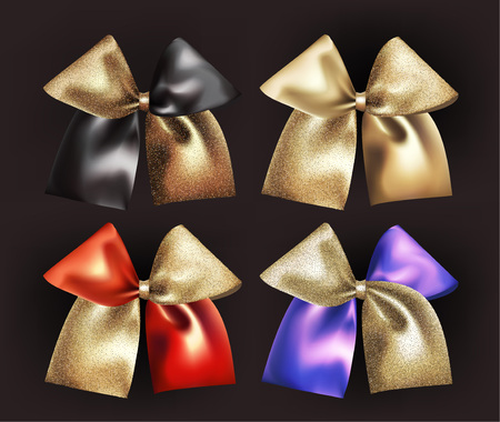Set of two colored sparkling bows. Vector illustration