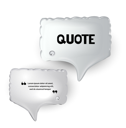 Set of white inflatable speech bubbles. Vector illustration