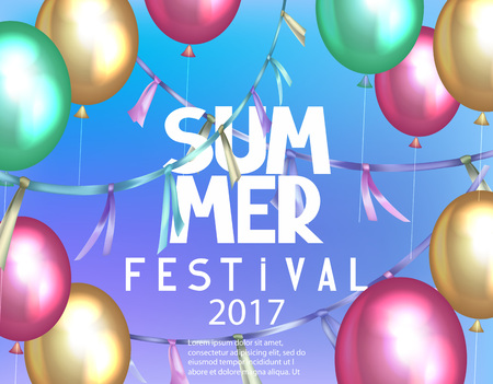 Summer festival background with colorful air balloons and garlands. Vector illustration Illustration