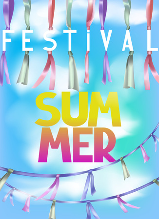 Summer festival background with sky and garlands. Vector illustration