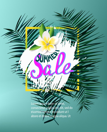 Summer sale background with palm leaves. Vector illustration