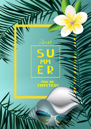 Tropical background with palm tree branches, seashell, sunglasses and flower. Vector illustration