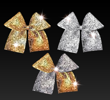Vector gold and silver sparkling bows with round pattern