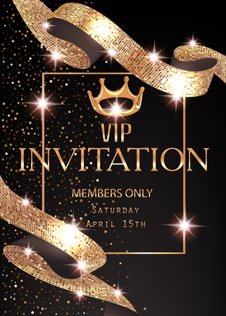 VIP banner with sparkling gold curly ribbon and frame. Vector illustration