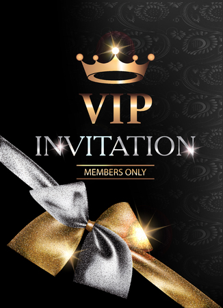 celebrities: VIP banner with sparkling gold and silver bow and gloral pattern background. Vector illustration