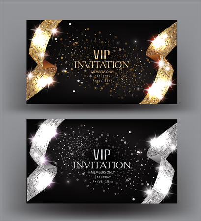 VIP BANNERS WITH GOLD AND SILVER TEXTURED RIBBONS. VECTOR ILLUSTRATION