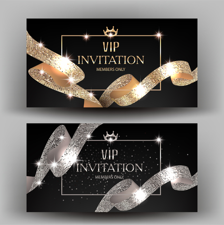 commemorate: VIP banners with gold and silver ribbons with round pattern. Vector illustration Illustration