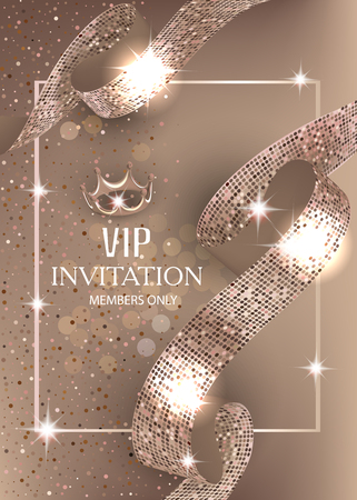Vip beige banner with sparkling curly ribbon. Vector illustration