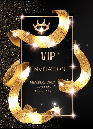 VIP invitation card with gold shiny sparkling curly ribbon. Vector illustration