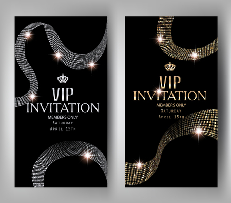 Vip invitation elegant banners with textured gold and silver ribbons. Vector illustration Çizim