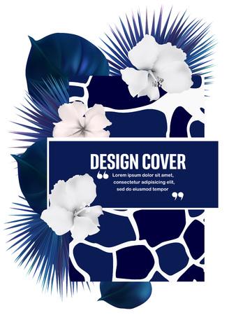Fondo con hojas tropicales, impresión de la piel de jirafa y lugar para el texto. Ilustración vectorial Foto de archivo - 81649359