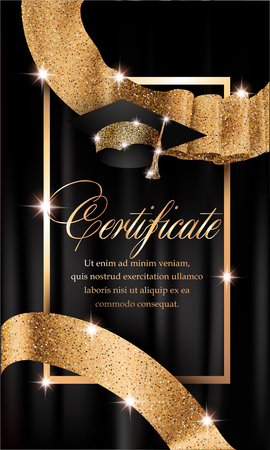 Certificate with gold design elements and curtain on the background. Vector illustration