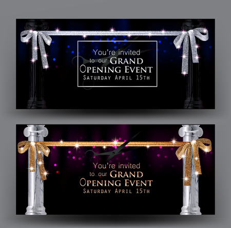 platinum: Grand opening banners with gold curtain, marble columns and long sparkling ribbons. Vector illustration Illustration